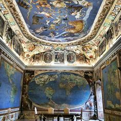 Renaissance Map room at Villa Farnese in Caprarola with astrological star map overhead. Villa Farnese