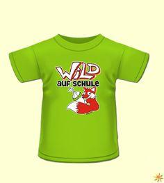 """Ein grünes Kinder T-Shirt mit dem Spruch """"Wild auf Schule"""" Ideal für jeden, der dieses Jahr in die Schule kommt. #Schulanfang #Einschulung"""