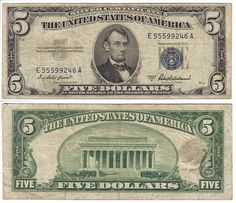 1953 A 5 Bill Silver Certificate Old Us Currency