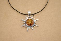 """925 silver pendant with amber baltic """"Sun"""" 925 Silver, Amber, Pendant Necklace, Stuff To Buy, Sun, Shopping, Jewelry, Turquoise Jewelry, Pendants"""