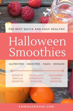 A selection of& best quick and easy healthy Halloween smoothies that are perfect for a whole foods based diet. Healthy Smoothies, Smoothie Recipes, Drink Recipes, Protein Shakes, Healthy Halloween, Halloween Ideas, Homemade Halloween, Halloween Gifts, Baby Halloween