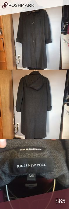 Long wool blend winter coat Fabulously warm full length winter coat with detachable hood. Slit in the back makes this coat great for commuters, and basic details like buttons on cuffs accent beautifully for work. Tag says 22W but coat fit best over work clothes/suit with blazer as a size 20W. Jones New York Jackets & Coats