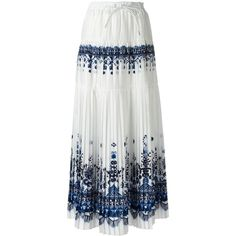 Sacai tribal lace maxi skirt (2.795 BRL) ❤ liked on Polyvore featuring skirts, white, long pleated skirt, pleated maxi skirt, white skirt, long white lace skirt and long tiered skirt