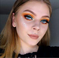 Colorful eye makeup, orange eye makeup, bright makeup, makeup for brown eye Orange Eyeshadow Looks, Orange Eye Makeup, Bright Eye Makeup, Bright Eyeshadow, Green Makeup, Colorful Eye Makeup, Makeup For Brown Eyes, Glam Makeup, Makeup Eyeshadow