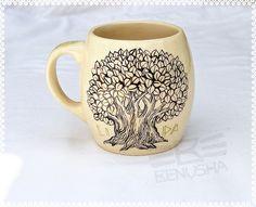 """""""Lime Tree"""" hand-painted ceramic mug. """"Lipa"""" kubek ceramiczny ręcznie malowany.poj 400ml by Benusha-ceramika"""