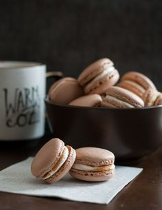 The weather outside is frightful, but hot chocolate macarons are sure to warm your heart - delightful fireplace burning or not.