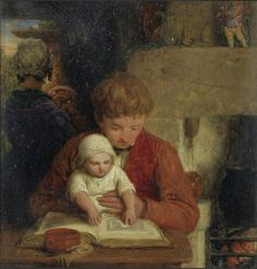 William Mulready - Rustic Happiness, 1825, oil on board, 21.5 X 18 cm. http://www.pinterest.com/mashrie/art5-town-house-people/