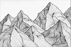 Curving Lines (Mountain Landscape) Art Print by Sitji & Baba - X-Small Zentangle Drawings, Art Drawings Sketches, Mountain Art, Mountain Landscape, Landscape Drawings, Landscape Art, Forest Drawing, Mountain Illustration, Line Art Tattoos