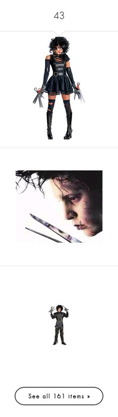 """""""43"""" by alinovarose ❤ liked on Polyvore featuring costumes, sexy halloween costumes, edward scissorhands costume, sexy costumes, edward scissorhands halloween costume, edward scissorhands, johnny depp, movies, photos and pictures"""