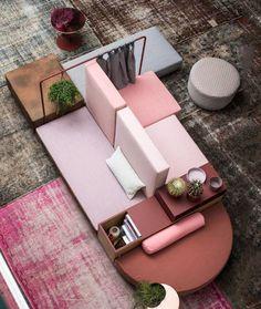 Le-canapé-ilot-une-autre-façon-d-aménager-son-salon-vue-dessus. Design Hotel, Home Design, Design Ideas, Design Blog, Office Lounge, Sofa Furniture, Outdoor Furniture Sets, Furniture Design, Geometric Furniture