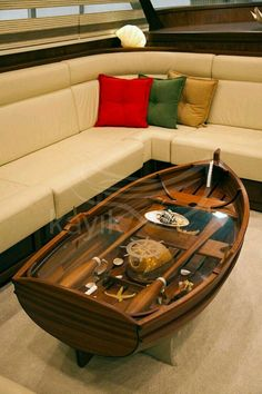 Phenomenal 9 Incredible Boat Coffee Table Ideas For Unique Living Room Decoration This boat coffee table design idea will make the living room more unique and cool. You can use a solid wood design to make a coffee table like this.