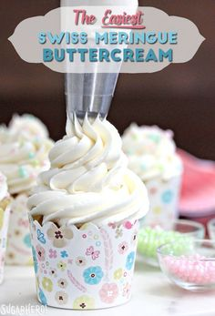 This is the Easiest Swiss Meringue Buttercream recipe you'll ever make! Once you try it, you'll want to use it to cover all of your cakes and cupcakes. Hello, and welcome to SugarHero! Frosting Tips, Swiss Meringue Buttercream, Cupcake Frosting, Cupcake Cakes, Meringue Icing, Egg White Frosting, Whipped Icing, Vanilla Icing, Whipped Cream