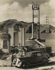 View of the Golden Gate Bridge under construction - sanfrancisco San Francisco City, San Francisco California, Bridge Construction, Under Construction, Sierra Nevada, Old Pictures, Old Photos, Puente Golden Gate, San Fransisco