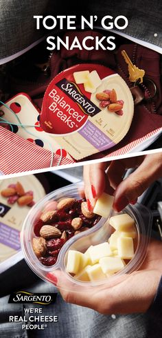 What fits in about any tote bag and contains Sargento® natural cheeses, roasted nuts, and sweet dried fruits in an all-in-one mix? Balanced Breaks® snacks of course! Be sure to give these easy on-the-go snacks a try today. They can be found in your local grocer's dairy case. Happy Snacking.