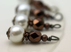 Vintage Style Pearl and Copper Luster Czech Bead by bountyofbeads, $5.00
