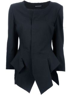 YOHJI YAMAMOTO Structured Jacket; 100% wool, 100% cool.  I tried it on - was very versatile - goes great with wide trousers (cropped with masculine flat shoes is very Yohji), pencil skirt (the 1940s look but avant garde), skinny jeans (tried it with white and it was a knock out), and shorts (very current).