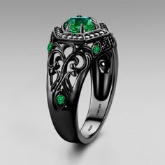 Vintage Design Round Cut Lab-created Emerald Stone Women's Black Ring  http://www.vancaro.com/vintage-design-round-cut-lab-created-emerald-stone-women-s-black-ring.html?utm_source=remarkety&utm_medium=email&utm_campaign=Birthstone%20Ring_New