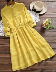 Half Button Striped Flare Dress MUSTARD A site with wide selection of trendy fashion style women's clothing, especially swimwear in all kinds which costs at an affordable price. Stylish Dresses, Simple Dresses, Pretty Dresses, Casual Dresses, Casual Outfits, Cute Outfits, Yellow Dress Casual, Floral Dresses, Maxi Dresses