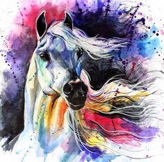 Horse artwork by Elena Shved Watercolor Horse, Watercolor Animals, Watercolor Paintings, Horse Drawings, Art Drawings, Horse Artwork, Horse Paintings, Devian Art, Mundo Animal