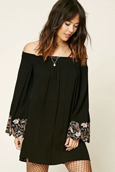 Forever 21 Contemporary - A crinkled woven dress featuring long bell sleeves with floral embroidered cuff and scalloped trim, a smocked off-the-shoulder neckline, and a boxy silhouette.