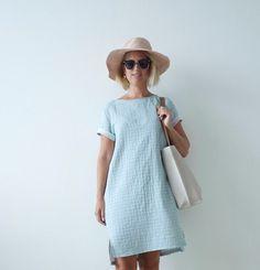 Inari Tee Dress....in blue! Stof wafel Georgette
