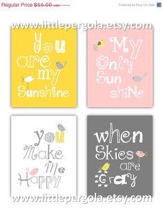 SALE You are my sunshine Pink, Gray and Yellow Art Prints, 4-8x10 prints, Matches Girl Nursery, nursery, or playroom
