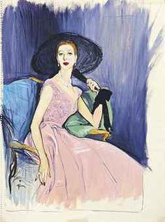 RENE GRUAU (1909-2004) THE BLACK FAN, CIRCA 1950 gouache on paper 19½ x 14½ in. (49.5 x 36.8 cm.) signed Gruau *
