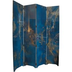 Stunning 1960's French Screen in Teal Blue and Gold Lacquer