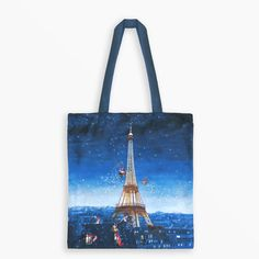 Tote Bag - Eiffel Tower at Night by Marie-Anne Foucart Eiffel Tower At Night, French Artists, Reusable Tote Bags, Illustration, Prints, Illustrations