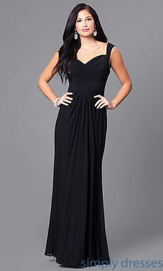 Shop long formal prom gowns at Simply Dresses. Floor-length party dresses in misses and plus sizes with sweetheart necklines and ruched bodices.