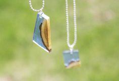 wood resin pendant - completed pendants outside photo