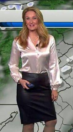 Afbeeldingsresultaat voor satin blouse leather pencil skirt