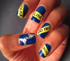 Police nails.... The thin blue line.