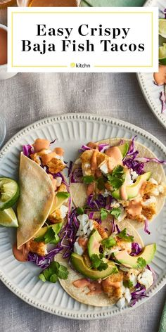 Recipes and Ideas for simple weeknight dinners like this are perfect for families. Made with cabbage slaw and crispy thanks to pan frying. on the stove. Works with white fish like cod, halibut, snapper, flounder or tilapia. Easy Fish Tacos, Cod Fish Tacos, Tilapia Tacos, Healthy Fish Tacos, Healthy Fish Recipes, Fried Fish Tacos, Crispy Tacos, Healthy Food, Cabbage Slaw