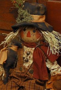 Handmade primitive fall scarecrow doll with sunflower and crow greeter folk art Primitive Scarecrows, Fall Scarecrows, Primitive Fall, Primitive Crafts, Primitive Patterns, Fall Halloween, Halloween Crafts, Halloween Decorations, Halloween Halloween