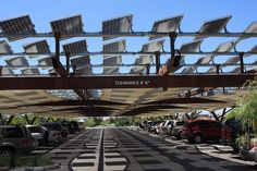 This is how every parking lot in Texas should be setup! Perfect blend of form and function... The solar panels provide shade to keep the cars cool and they trickle charge a power system to light up the parking lot at night...
