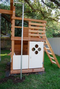Play structure, DIY play house with cool door, firemans pole and easily extended to include swing