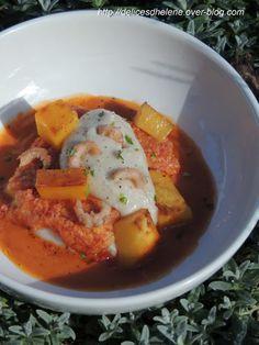 Dos de cabillaud en croûte de chorizo, crème de cocos blancs, sabayon de crevettes grises