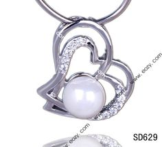 21x19mm Double Hearts Crystal with Pearl 925 Sterling Silver Dangle Charm Pendant Fit Necklace