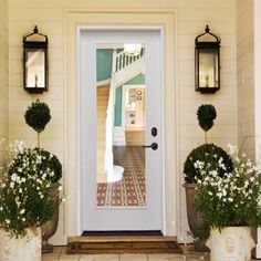 Steves & Sons 36 in. x 80 in. Premium Full Lite Primed White Fiberglass Prehung Front Door at The Home Depot - Mobile Exterior Doors With Glass, Entry Doors With Glass, Exterior Front Doors, Glass Front Door, Sliding Glass Door, Exterior Paint, Glass Doors, Tropical Doors, Fiberglass Entry Doors