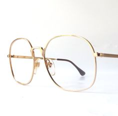 vintage 1980s nos franck oliver round eyeglasses oversized matte shiny metal gold frames eye glasses mid century men women france french