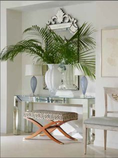 Living Room in Chic Beach Sanctuary by Jan Showers & Associates on Showers Interior, Entryway Decor, Wall Decor, Hall Design, Mirrored Furniture, Interior Decorating, Interior Design, Entry Hall, Front Entry