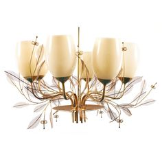 View this item and discover similar for sale at - Large and elegant eight shaded brass Paavo Tynell chandelier with decorative branch,leaf,flower elements.Chandelier with original glass shades intact. Chandeliers, Lamp Light, Light Up, Branch Decor, Leaf Flowers, Glass Shades, Brass, Ceiling Lights, Elegant