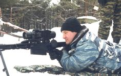 Russian Spetsnaz Soldier aiming with the V-94 large-bore anti-material sniper rifle, (Izhevsk, 2012)