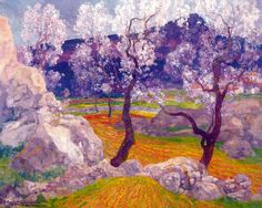 Almond trees in flower Hermen Anglada Camarasa Private collection Spanish Painters, Spanish Artists, Landscape Art, Landscape Paintings, Landscapes, Garden Painting, Inspiration Art, Le Far West, Italian Artist