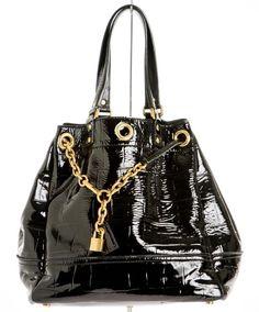 Yves Saint Laurent Black Patent Leather Overseas Drawstring Bag