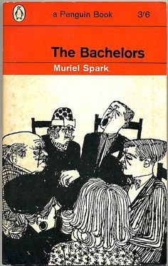 The Bachelors by Muriel Spark. 1965. Cover drawing by Terence Greer. Penguin Books (vintage art, illustration, illustrator)