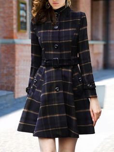 SheIn offers Stand Collar Plaid Buttons Belt Coat & more to fit your fashionable needs. Plaid Coat, Belted Coat, Plaid Dress, Long Sleeve Maxi, Maxi Dress With Sleeves, Coatdress, Mode Mantel, Latest Street Fashion, Casual Dresses For Women