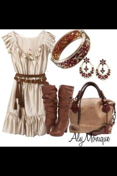 Cute Country outdoor dress, boots and purse