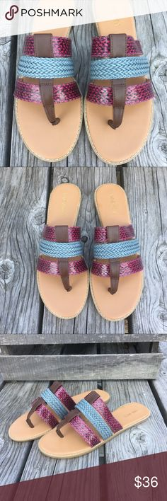 🆕List! Snakeskin Leather Thong Sandals! NEW! Vegan snakeskin and braided leather sandals! So colorful, pretty and classy! Size 9.5. New in box. LC:unit2/8 Nine West Shoes Sandals